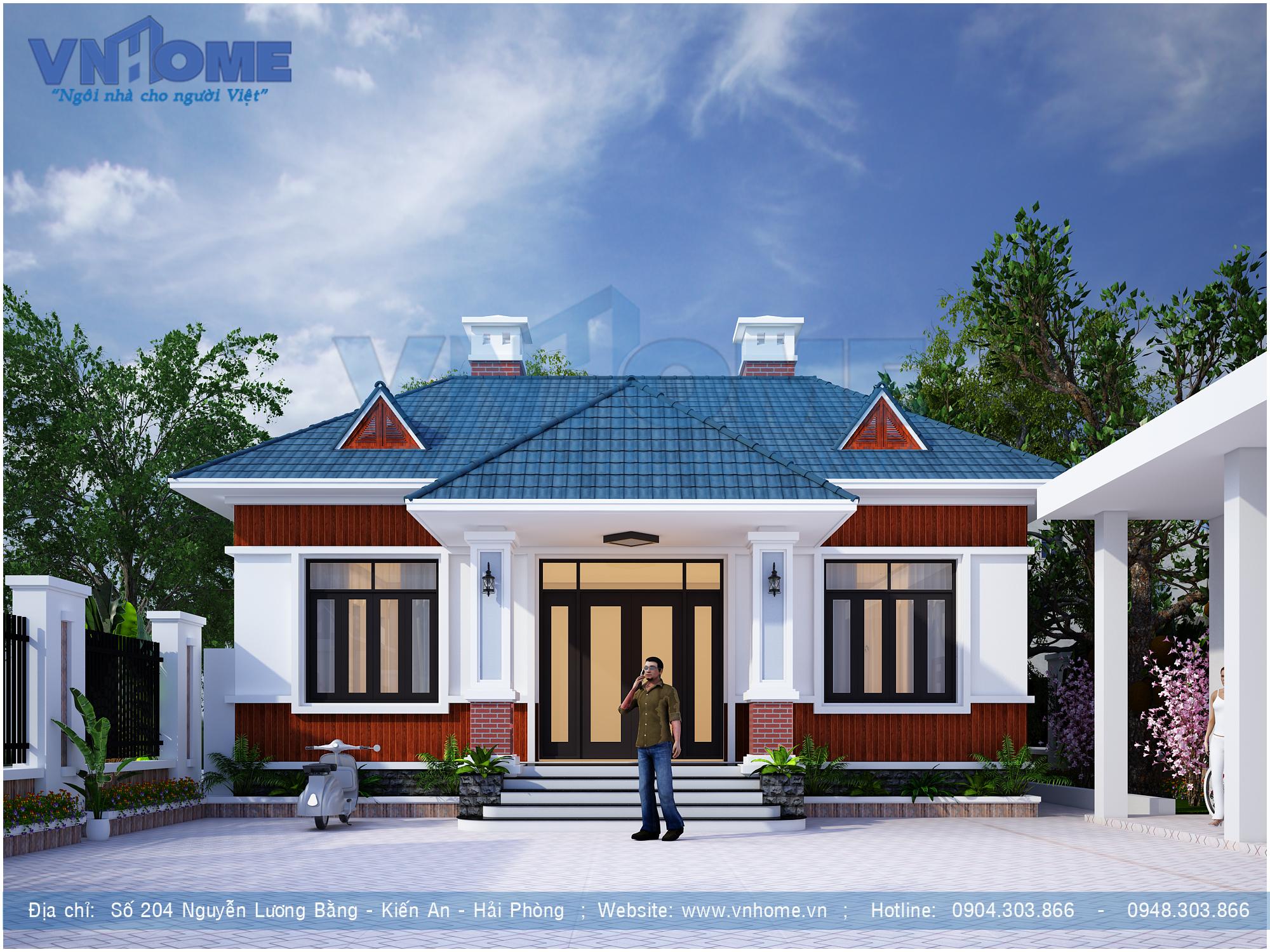 Thiết kế biệt thự 1 tầng mái thái 3 phòng ngủ đẹp 02