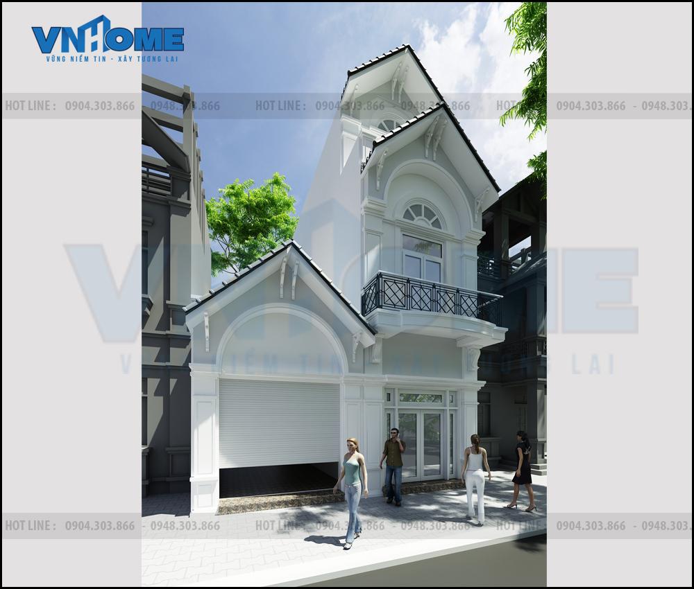 Thiết kế nhà lô tân cổ điển đẹp 2,5 tầng tại Hải Phòng 00